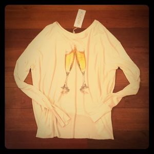 NWT Wildfox Champagne Oversized Henley